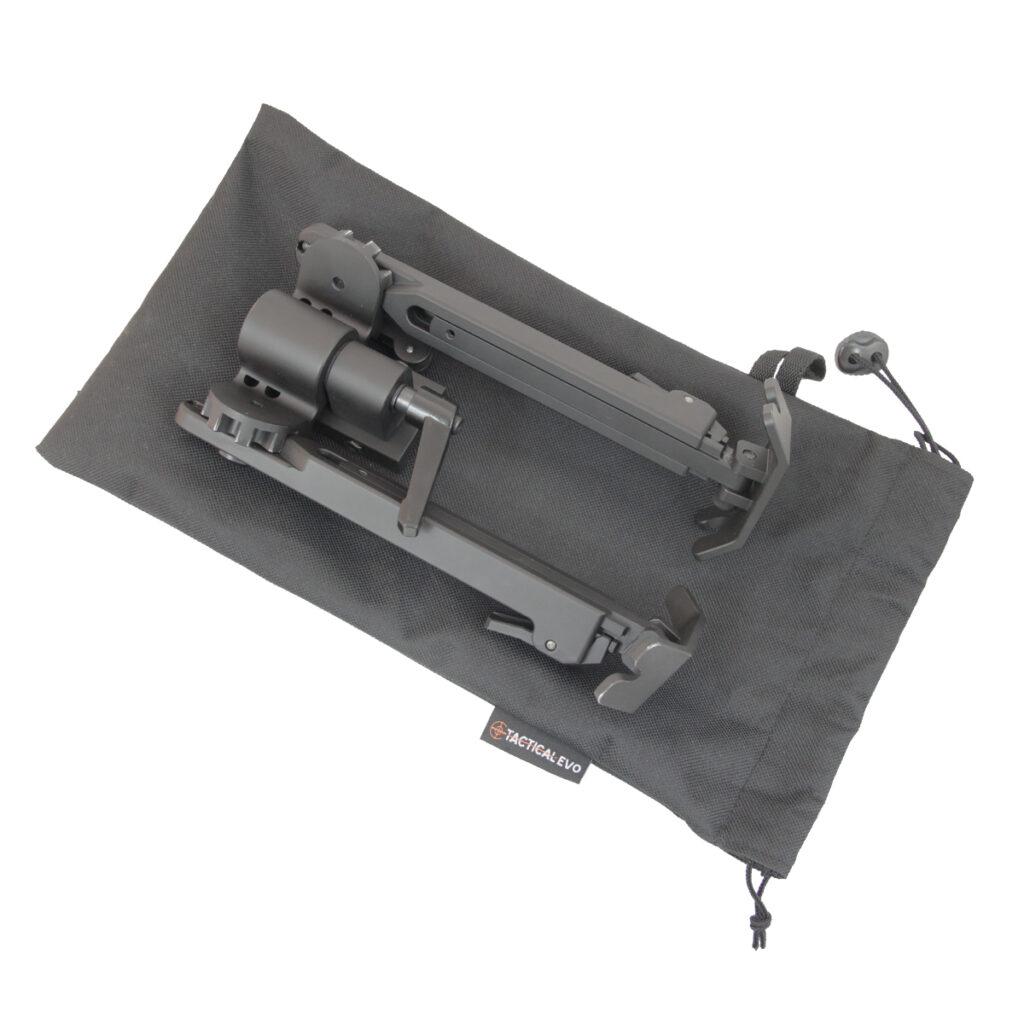 Bipied Tactical Evo TK3 noir avec montage Picatinny et sacoche